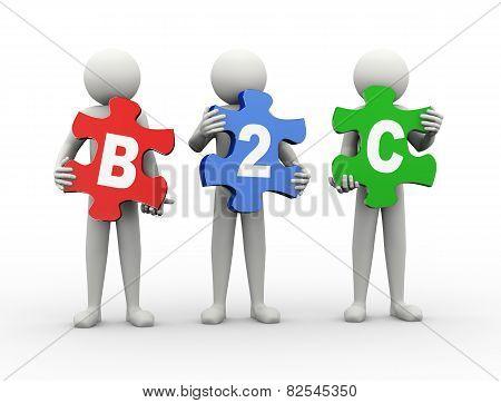 3D Man Puzzle Piece - B2C