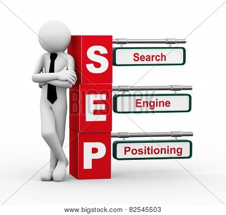 3D Businessman With Sep Signpost Illustration