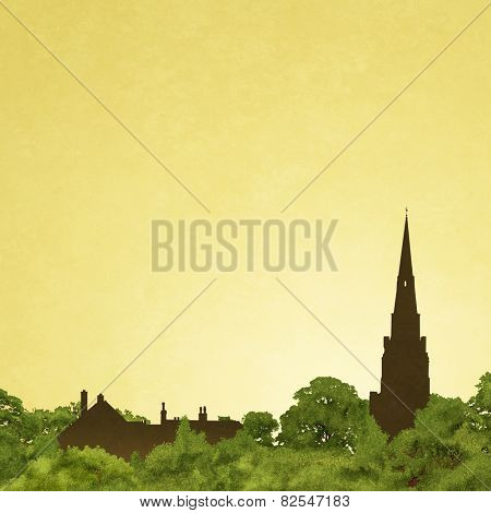 Slightly Grungy Landscape with Church Spire in Silhouette and Trees