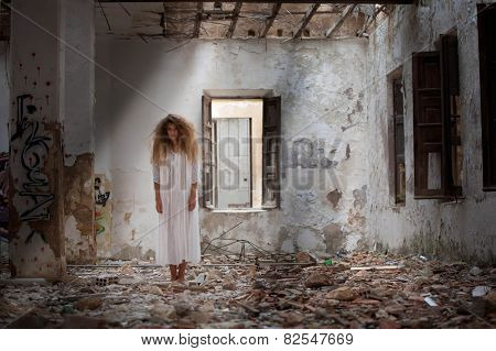 ghost woman in abandoned house NOTE TO REVIEWER SPECIAL MOOD LIGHTING FOR DRAMATIC EFFECT