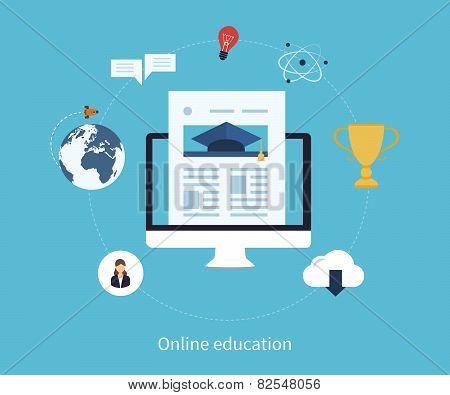 Flat design modern vector illustration icons set of online education