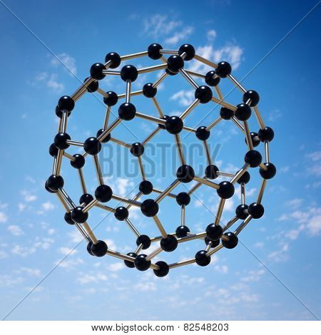 Photo-montage of a microscopic molecule hovering over a blue sky