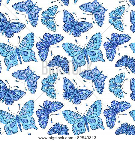 Seamles Pattern With Blue Batterflies