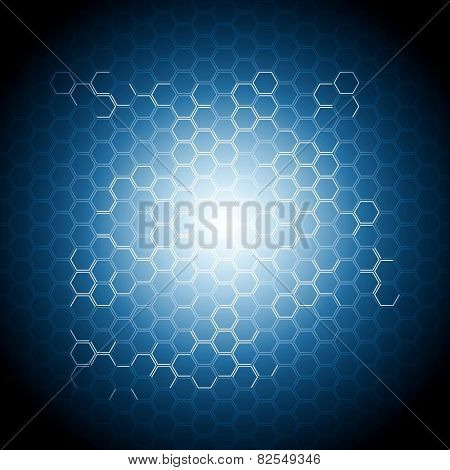Abstract blue geometry background with hexagons. Vector design