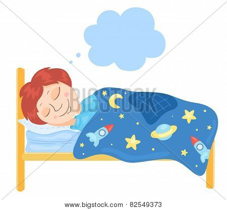 The Boy Sleeps In A Bed