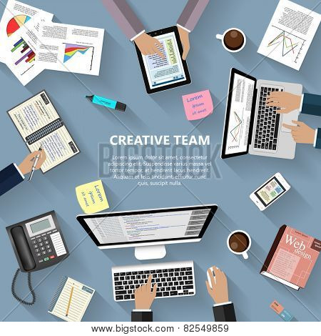 Modern flat design creative team concept for e-business, web sites, mobile applications, banners, corporate brochures, book covers, layouts etc. Vector eps10 illustration