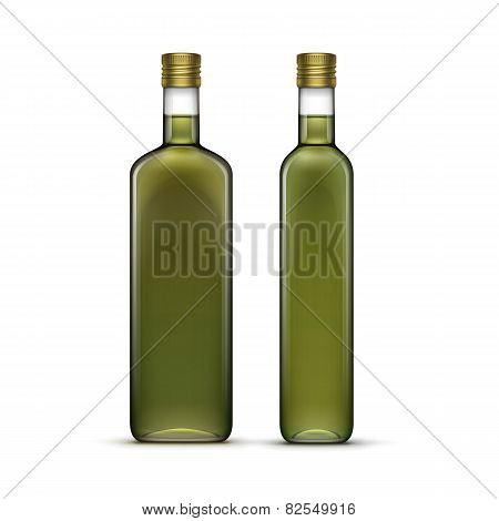 Vector Set of Olive Oil Glass Bottles Isolated