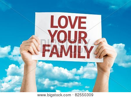 Love Your Family card with sky background