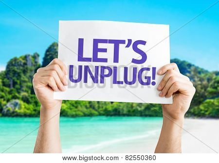 Let's Unplug! card with beach background