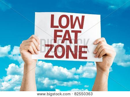 Low Fat Zone card with sky background