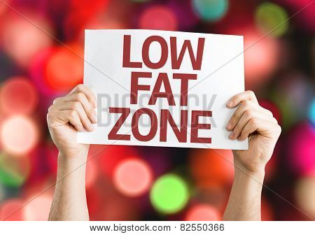 Low Fat Zone card with colorful background with defocused lights