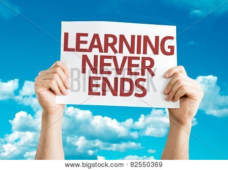 Learning Never Ends card with sky background