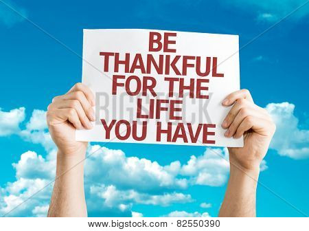 Be Thankful for the Life You Have card with sky background