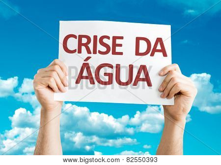 Water Crisis (in Portuguese) card with sky background
