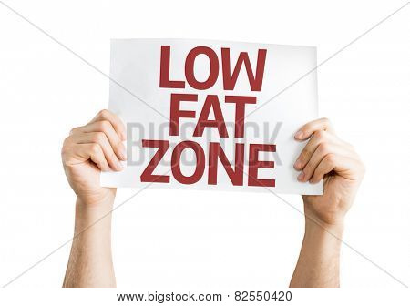 Low Fat Zone card isolated on white background