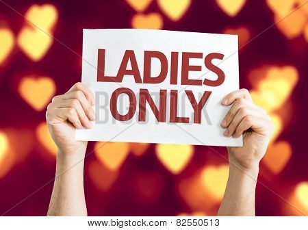 Ladies Only card with heart bokeh background