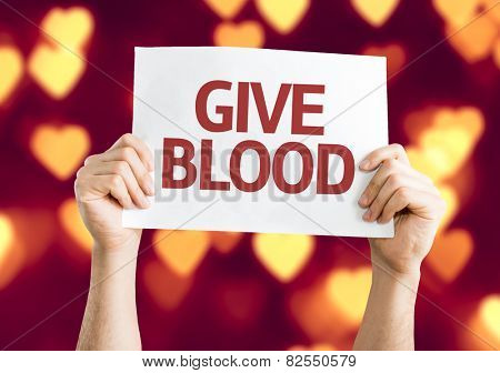 Give Blood card with heart bokeh background