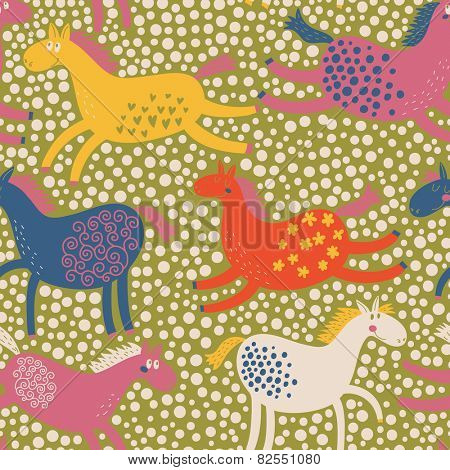Cute cartoon horses in vector in bright colors. Seamless pattern can be used for wallpapers, pattern fills, web page backgrounds, surface textures.