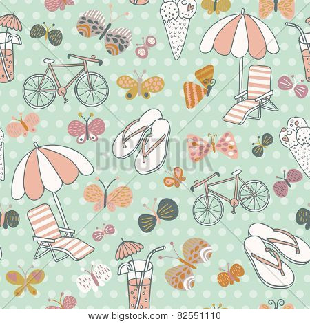Awesome seamless pattern with summer elements. Beach party vector background. You can use it in party invitations, textile for swimwear, summer bags.
