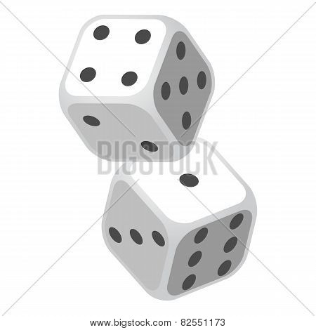 Two Casino Gambling Dices Vector Illustration