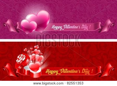 Holiday banners for Valentines Day with a gift box and hearts