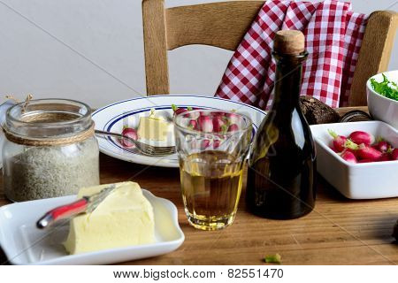 Radish Dish With A Glass Of Cider