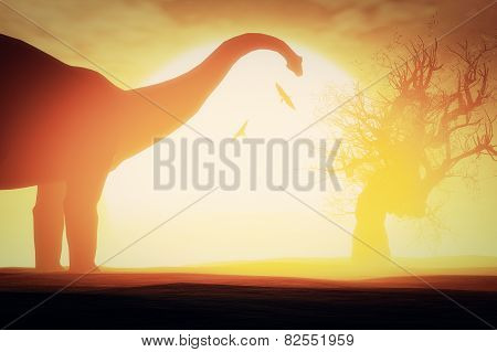 Dinosaurs in a Prehistoric Desert Sunset Sunrise