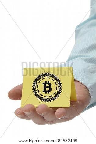Business man holding yellow bitcoin sign on hand