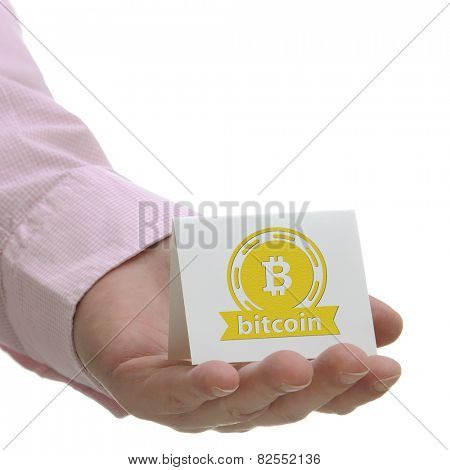 Business man holding bitcoin sign on hand