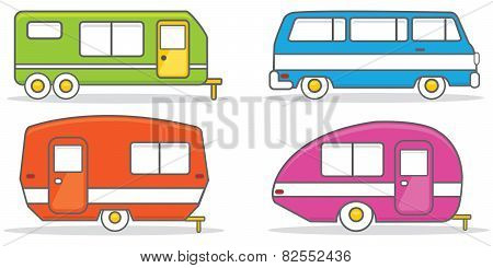 Retro caravan mobile home illustration vector