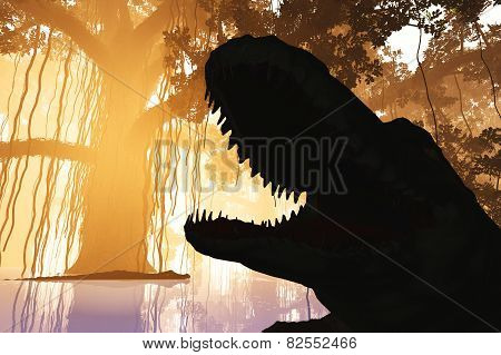 Aligators in Mysterious Fantasy Deep Jungle in Water in the Sunset Sunrise