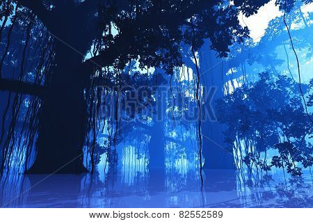 Mysterious Fairy Tale Fantasy Deep Jungle at Night