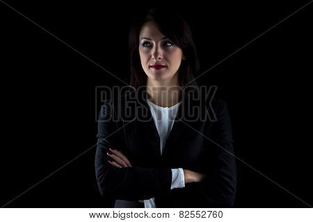 Portrait serious looking away business woman