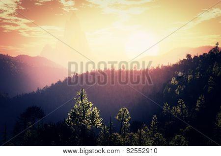 Prehistoric Jungle in the Sunset Sunrise