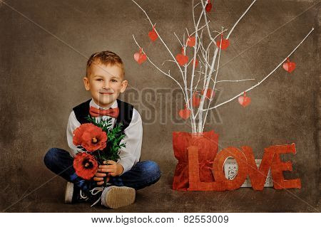 the little gentleman with flowers on Valentine's Day
