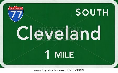Cleveland USA Interstate Highway Sign