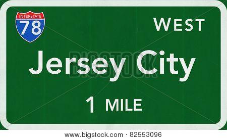Jersey City USA Interstate Highway Sign