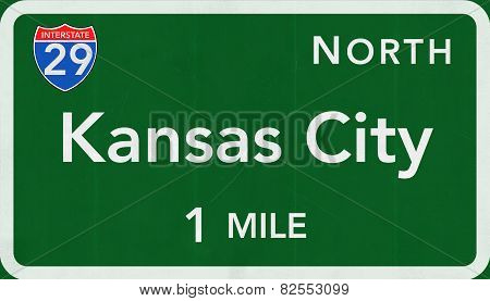 Kansas City USA Interstate Highway Sign
