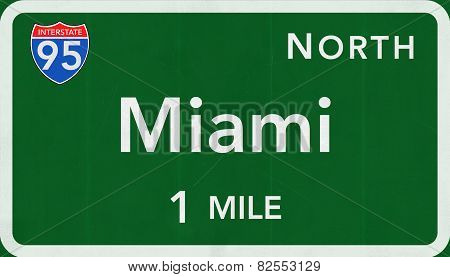 Miami USA Interstate Highway Sign