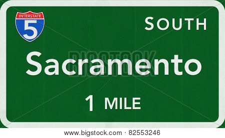 Sacramento USA Interstate Highway Sign