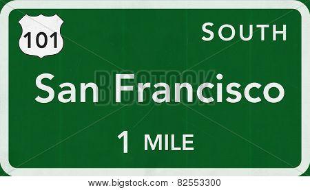 San Francisco USA Interstate Highway Sign