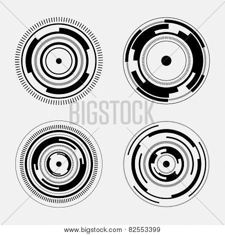 Abstract technology signs - set of futuristic circles