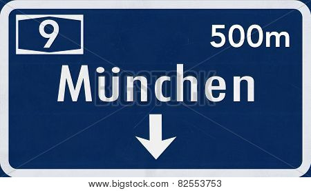 Munchen Germany Highway Road Sign
