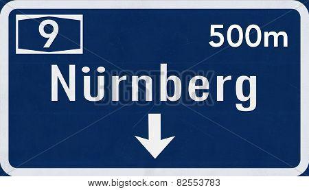 Nurnberg Germany Highway Road Sign
