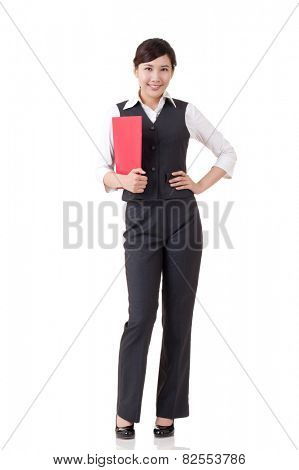Young attractive business woman of Asian, full length portrait isolated on white.