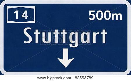 Stuttgart Germany Highway Road Sign
