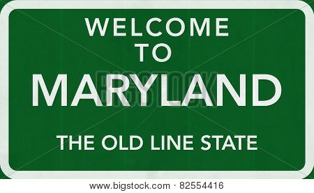 Maryland USA Welcome to Highway Road Sign