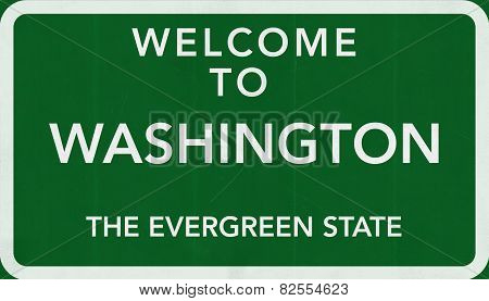 Washington USA Welcome to Highway Road Sign
