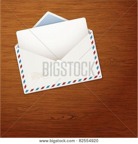 Envelope on Wooden Background. Vector illustration.