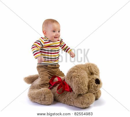 Baby Boy Jump on Plush Dog